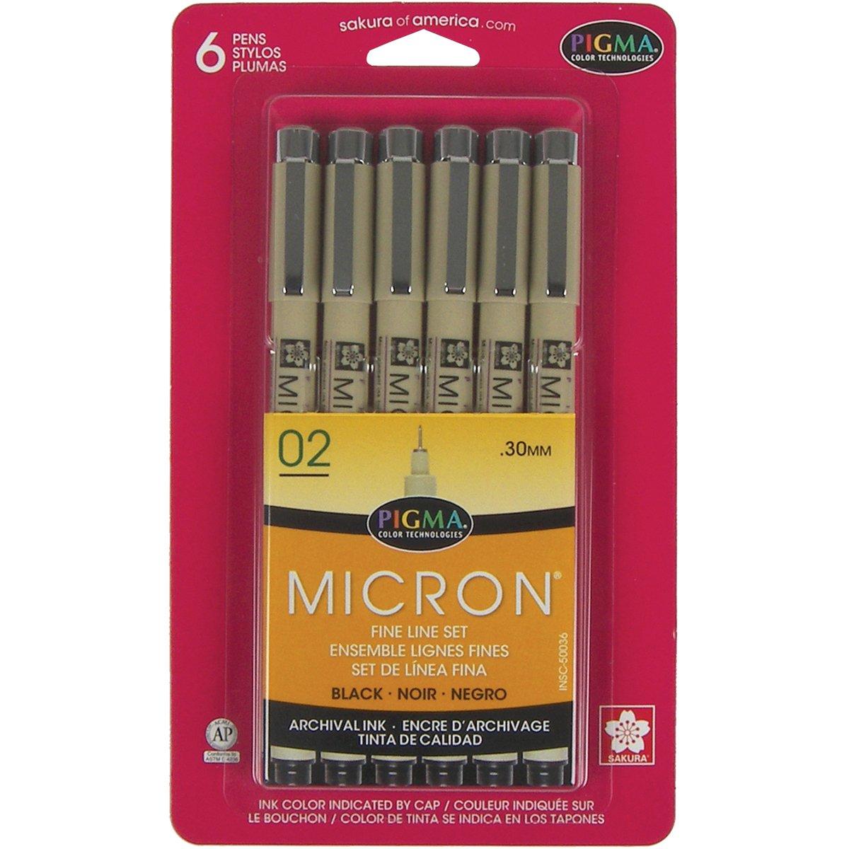 Sakura Pigma 50036 Micron Blister Card Ink Pen Set, Black, 02 6CT