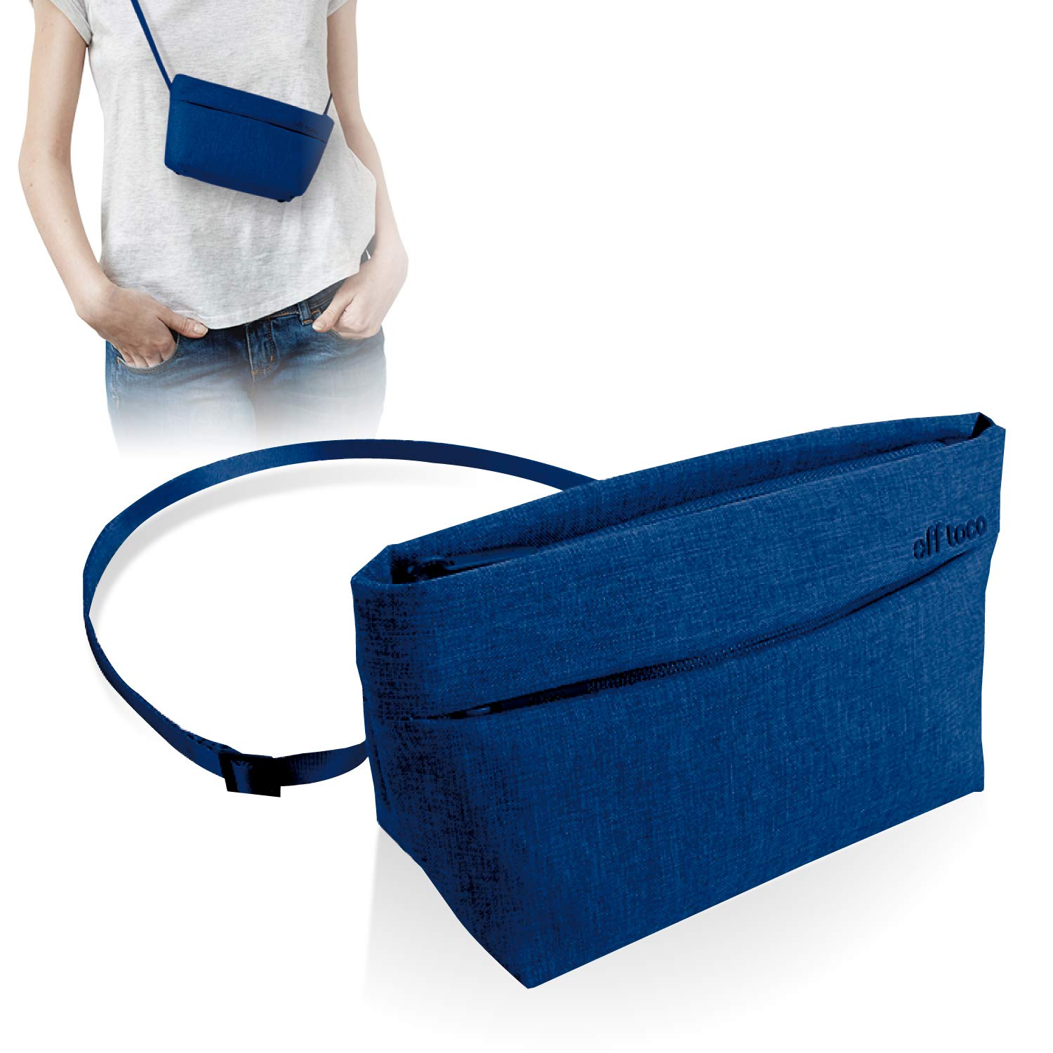 ELECOM Offtoco Series Pouch Sacosh Bag, Slim Design, Multiple Pockets, Water Repellent Material, Bright Inner Packaging Color/Navy/BMA-OF02NV