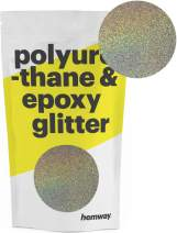 Hemway Metallic Glitter Floor Crystals for Epoxy Resin Flooring (500g) Domestic, Commercial, Industrial - Garage, Basement - Can be Used with Internal & External (Silver & Gold Holographic)