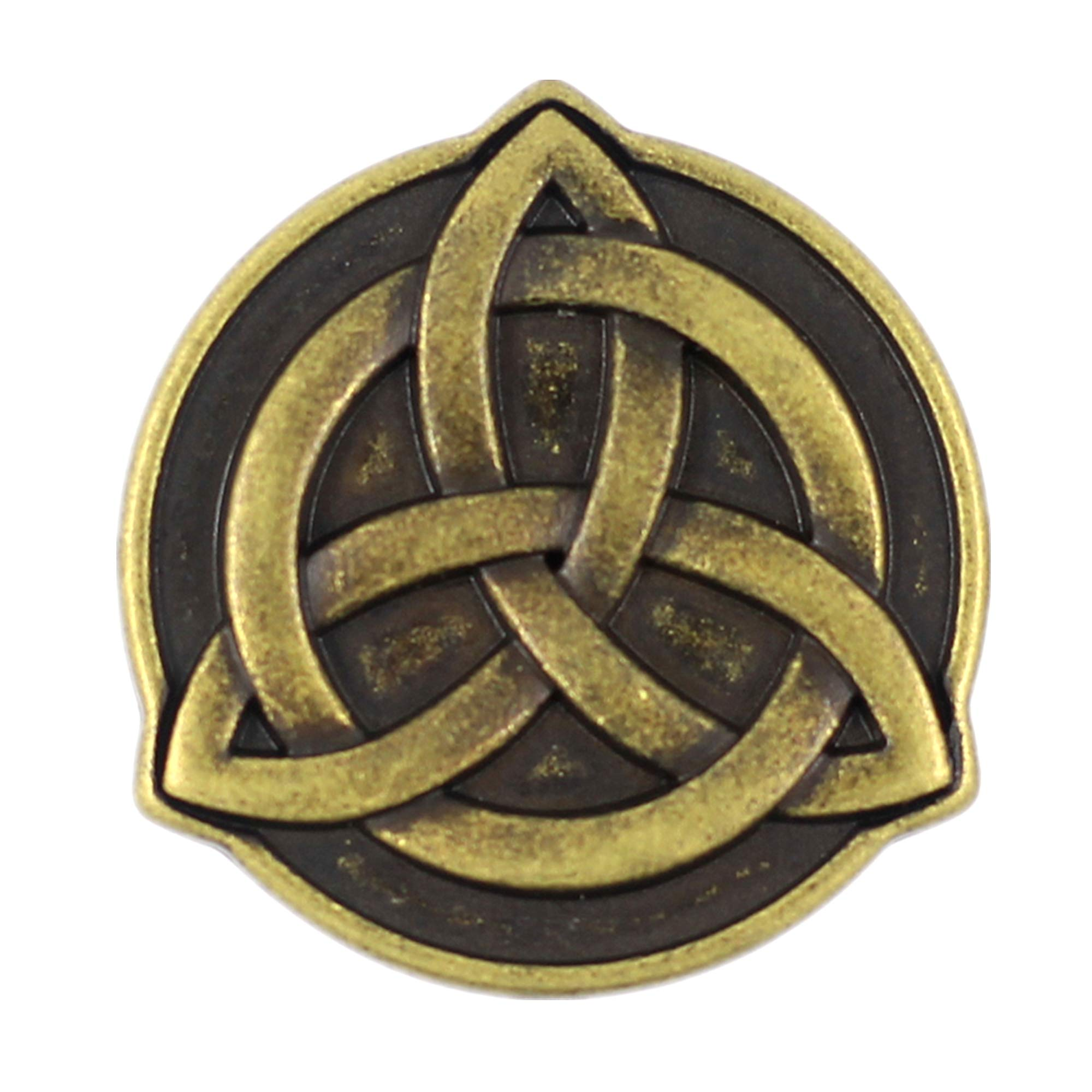 Bezelry 10 Pieces Celtic Trinity Knot Metal Shank Buttons. 22mm (7/8 inch)(Antique Brass)