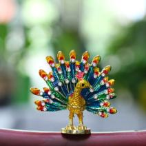 YU FENG Hand-Painted Peacock Figurine Jewelry Trinket Box