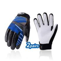Vgo 2Pairs Goat Leather Work Gloves, Mechanic Gloves, Cut Resistance ANSI A3, Touchscreen Compatible (Size XL, Blue, GA9699HY)