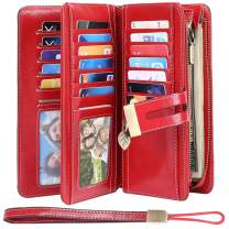 HUANLANG Womens Wallet Large Elegant RFID Blocking Ladies Purse Wallet Leather Credit Card Wallet for Women Wrist Strap