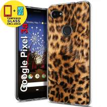 TalkingCase Clear TPU Phone Case for Google Pixel 3a XL,G020C,Leopard Skin Texture Print,Light Weight,Flexible,Anti-Scratch,Tempered Glass Screen Protector Included,Designed in USA