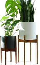 "Fox & Fern Mid-Century Modern Plant Stand - EXCLUDING White Ceramic Planter Pot (Tall - Fits 10"" Pot, Acacia Wood)"