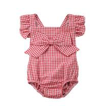 Newborn Baby Girl Plaid Romper Outfit Backless Ruffle Tutu Bodysuit Jumpsuit Top+Headband Summer Clothes