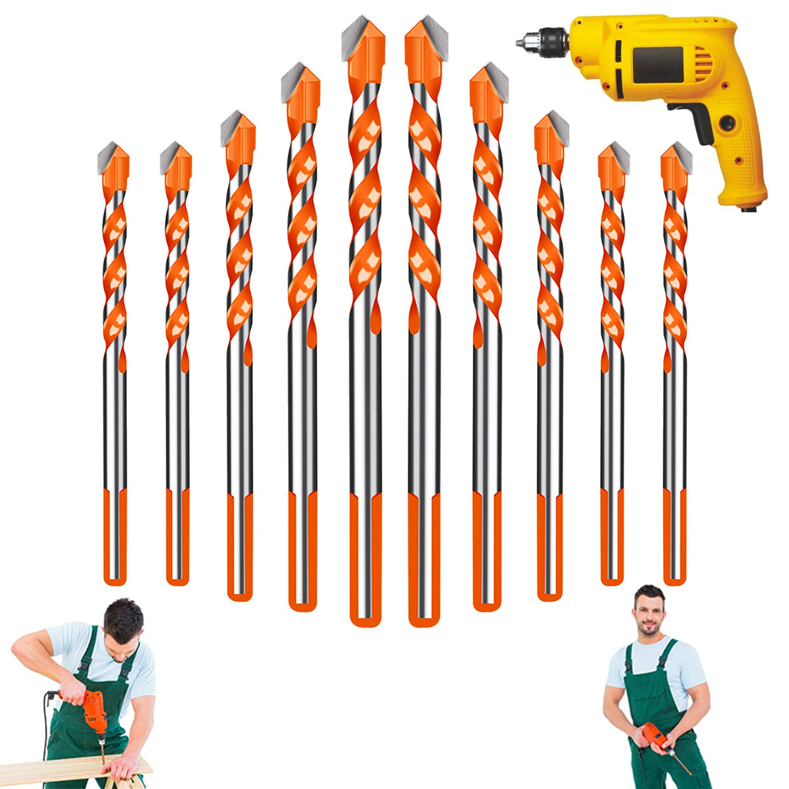 10 Pcs Ultimate Drill Bits, Triangle Masonry Drill Bit Set, Multifunctional Concrete Drill Bits, Carbide Drill bit Set for Wood, Glass and Tile, 6/6/8/10/12 mm (Orange)