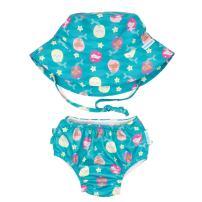 Bumkins Reusable Swim Diaper and Hat, UPF +50, Mermaid, 6 Months