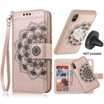 iPhone X/XS Case,iPhone X/XS Wallet Case,Detachable Slim Case,Card Solt Holder,Fit Car Mount,CASEOWL Mandala Flower Floral Embossed Leather Flip Lanyard Wallet Case for iPhone X/XS/10/10S[Rose Gold]