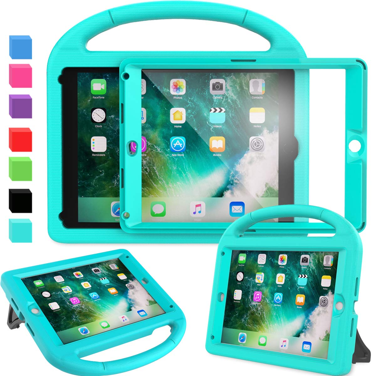 """AVAWO Kids Case Built-in Screen Protector for New iPad 9.7"""" 2018 & 2017 - Shockproof Case with Handle for iPad 9.7 Inch (2018 6th Gen) & 2017 5th Generation - Turquoise"""