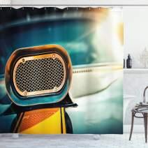 "Ambesonne Automobile Shower Curtain, View of Powerful Muscle Car Nostalgic Hood American Fashion Engine Image, Cloth Fabric Bathroom Decor Set with Hooks, 75"" Long, Turquoise Orange"