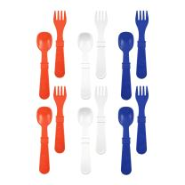 RE-PLAY Made in The USA 12pk Fork and Spoon Utensil Set for Easy Baby, Toddler, and Child Feeding in Red, White and Navy Blue   Made from Eco Friendly Heavyweight Recycled Milk Jugs   (Patriotic)