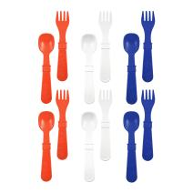 RE-PLAY Made in The USA 12pk Fork and Spoon Utensil Set for Easy Baby, Toddler, and Child Feeding in Red, White and Navy Blue | Made from Eco Friendly Heavyweight Recycled Milk Jugs | (Patriotic)
