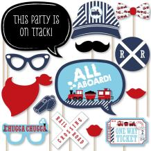Big Dot of Happiness Railroad Party Crossing - Steam Train Birthday Party or Baby Shower Photo Booth Props Kit - 20 Count