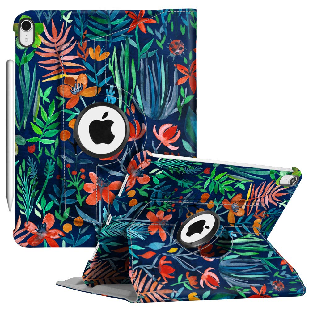 """Fintie Case with Built-in Pencil Holder for iPad Pro 11"""" 2018 [Support 2nd Gen Pencil Charging Mode] - 360 Degree Rotating Stand Protective Cover with Auto Sleep/Wake, Jungle Night"""