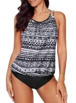 Actloe Womens Swimsuits Blouson Printed Tankini Top with Bikini Bottom Two Piece Bathing Suits