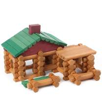 Wondertoys 90 Pieces Classic Wood Cabin Logs Set, Building Log Toy for Children, Farm House Construction Educational Toys for 3 4 5 6 Years Old