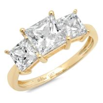 3.0ct Brilliant Princess Cut 3 Stone Solitaire with Accent Quality Lab Created White Sapphire Ideal VVS1 & Simulated Diamond Engagement Promise Anniversary Bridal Wedding Ring 14k Yellow Gold