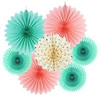SUNBEAUTY Paper Fans Decorations Kit Wedding Bridal Shower Baby Shower Birthday Decoration Hanging Paper Honeycomb Decoration, Cream Mint Green Rose Pink 7pcs