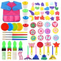 FINGOOO 61PCS Sponge Drawing Brushes Kits,Early Learning Kids Paint Set Assorted Painting Drawing Tools for Kids