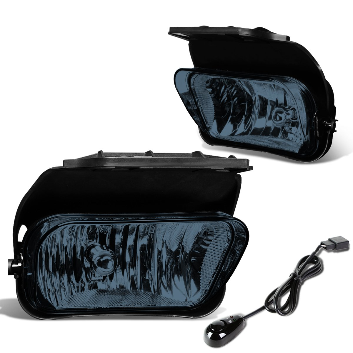 Replacement for Chevy Silverado Pair of Bumper Driving Fog Lights + Wiring Kit + Switch (Smoked Lens)