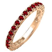 Dazzlingrock Collection 10K Rose Gold Round Gemstone Eternity Sizeable Stackable Wedding Band
