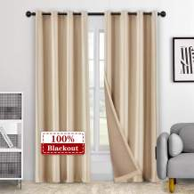 "LoyoLady Beige 100% Blackout Velvet Curtains for Bedroom, Thermal Insulated Living Room Curtains 96 inches Long 2 Panels 84"" W x 96"" L, Grommet Top Window Treatments Drapes"