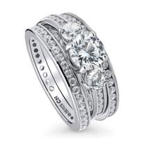 BERRICLE Rhodium Plated Sterling Silver Round Cubic Zirconia CZ 3-Stone Anniversary Engagement Wedding Ring Set 2.87 CTW