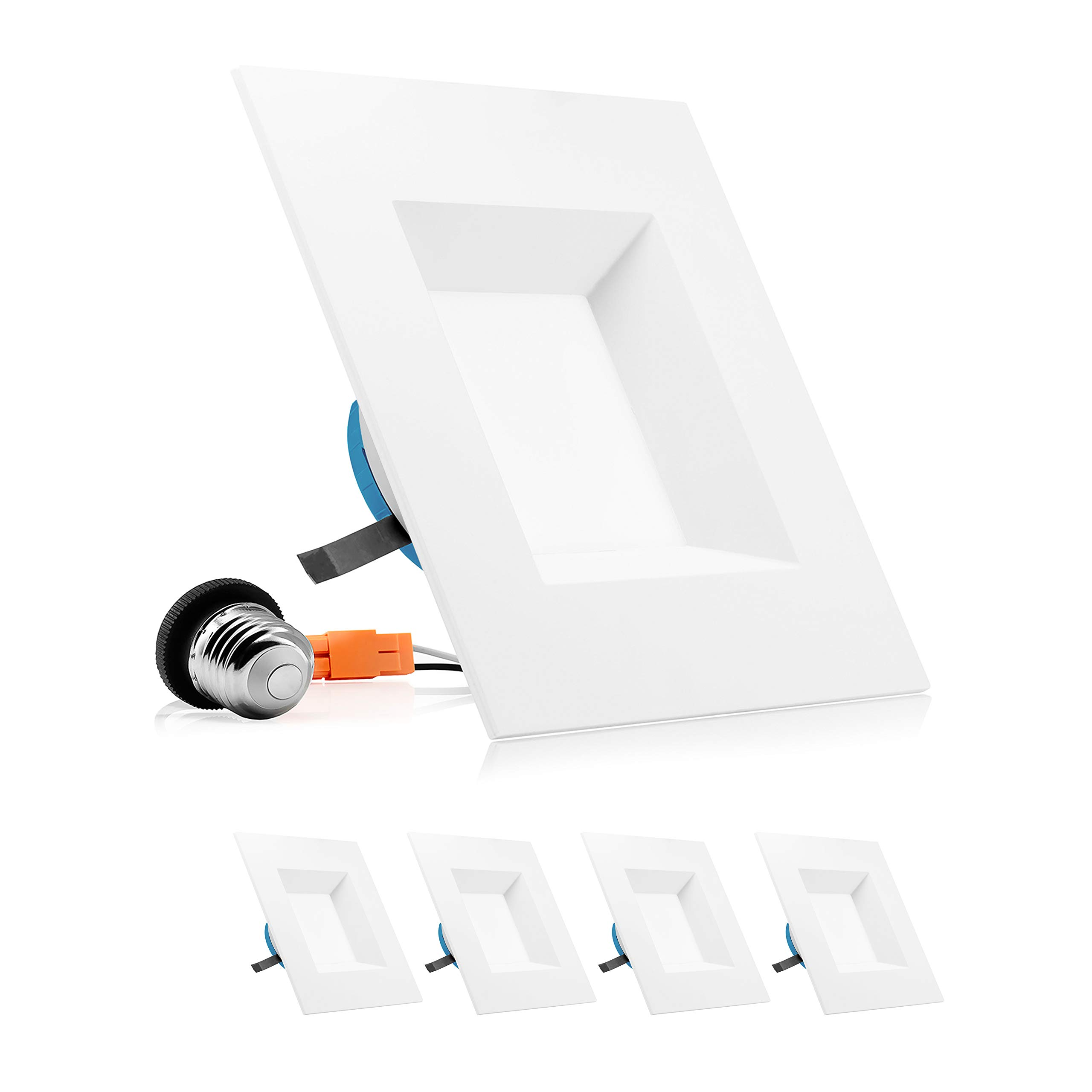 PARMIDA 6 inch Dimmable LED Square Recessed Retrofit Lighting, Easy Downlight Installation, 12W (100W Eqv.), 950lm, Ceiling Can Lights, Energy Star & ETL-Listed, 5 Year Warranty, 5000K - 4 Pack