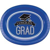 Creative Converting 8 Count School Spirit Oval Paper Platters for Graduation Party, Cobalt Blue
