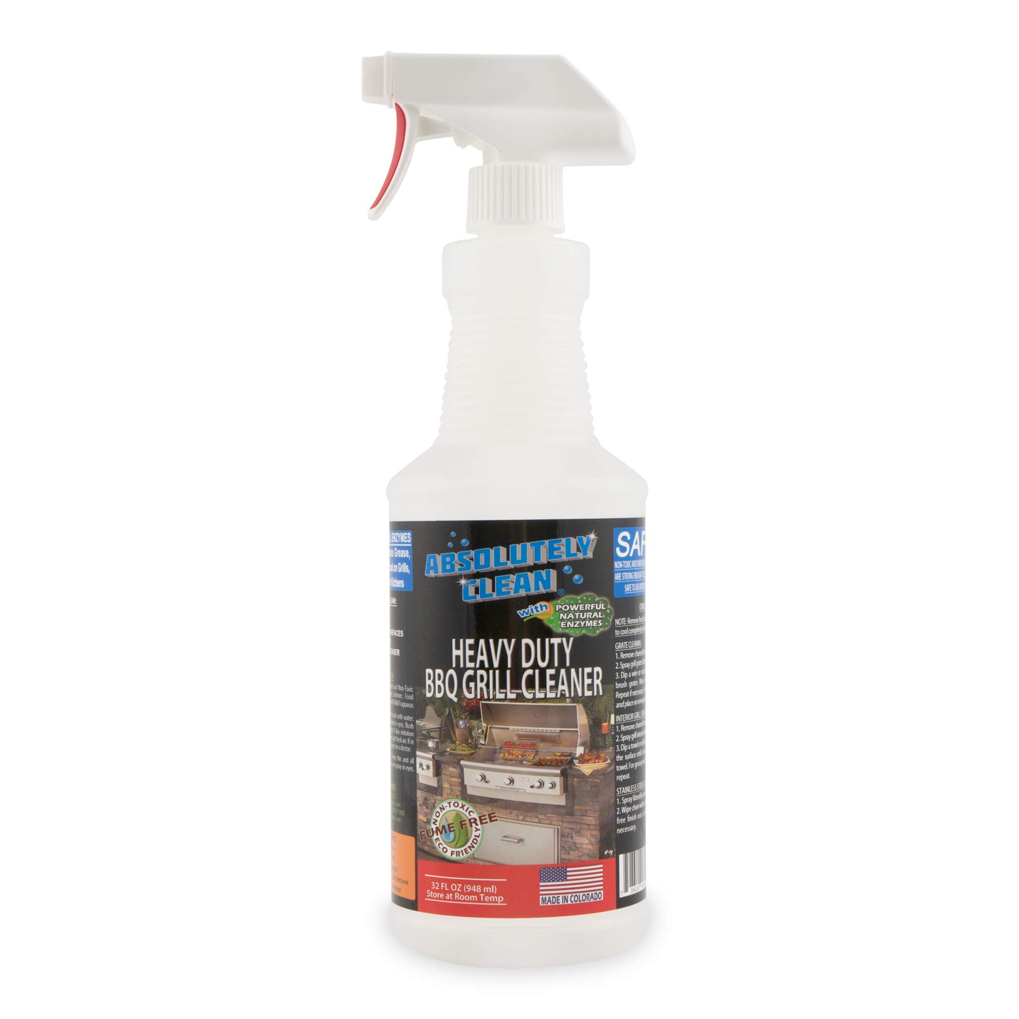 Absolutely Clean Amazing BBQ Grill Cleaning Spray, Professional Strength Degreaser, Natural Enzymes Make Grill Cleaning Easy (32oz)