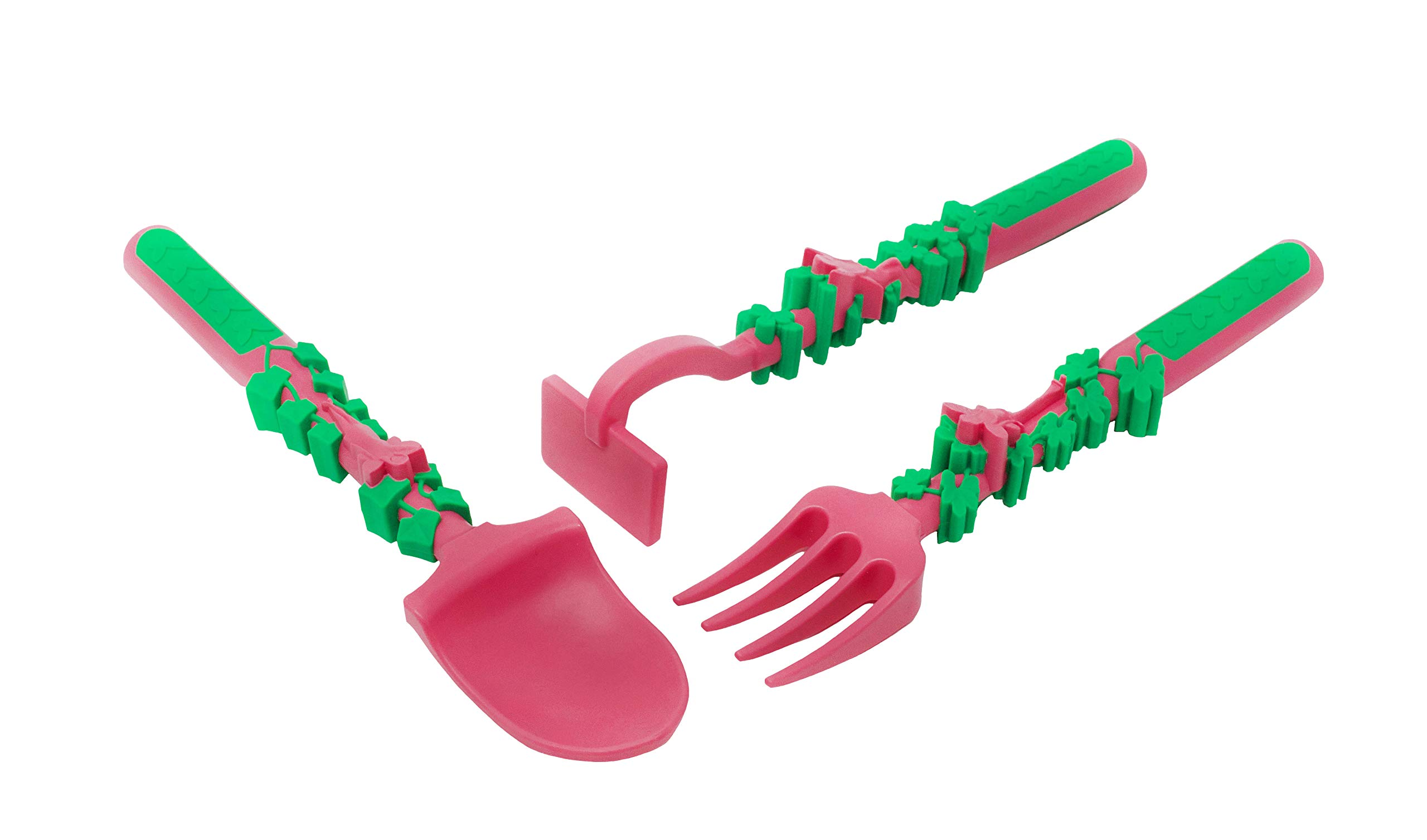 Constructive Eating Set of Garden Fairy Utensils for Toddlers, Infants, Babies and Kids - Flatware Toys are Made in the USA with FDA Approved Materials for Safe and Fun Eating