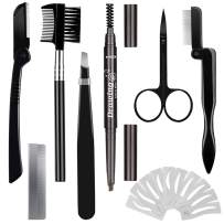 Eyebrow Razor Eyebrow Kit 17PCS with Eyebrow Pencil, Scissor, Eyebrow Brush, Eyebrow Stencil, Tweezers and Eyelash Comb for Women and Men, Maiden and Teenage Girls Grooming Kit