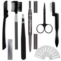Eyebrow Razor Eyebrow Kit 17PCS with Eyebrow Pencil, Scissor, Eyebrow Brush, Eyebrow Stencil, Tweezers and Eyelash Comb for Women and Men, Maiden and Teenage Girls Grooming Kit