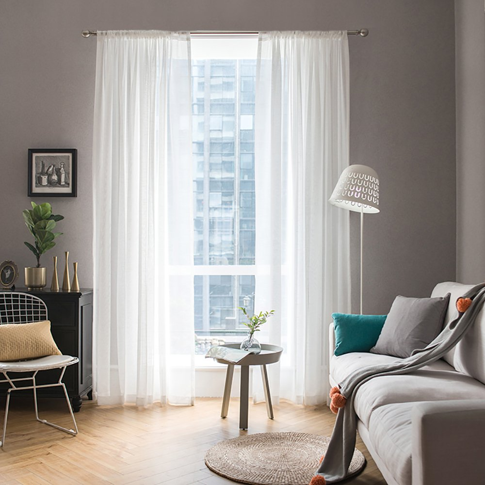 MIULEE 2 Panels Solid Color White Sheer Window Curtains Elegant Window Voile Panels/Drapes/Treatment for Bedroom Living Room (54 X 96 Inches White)