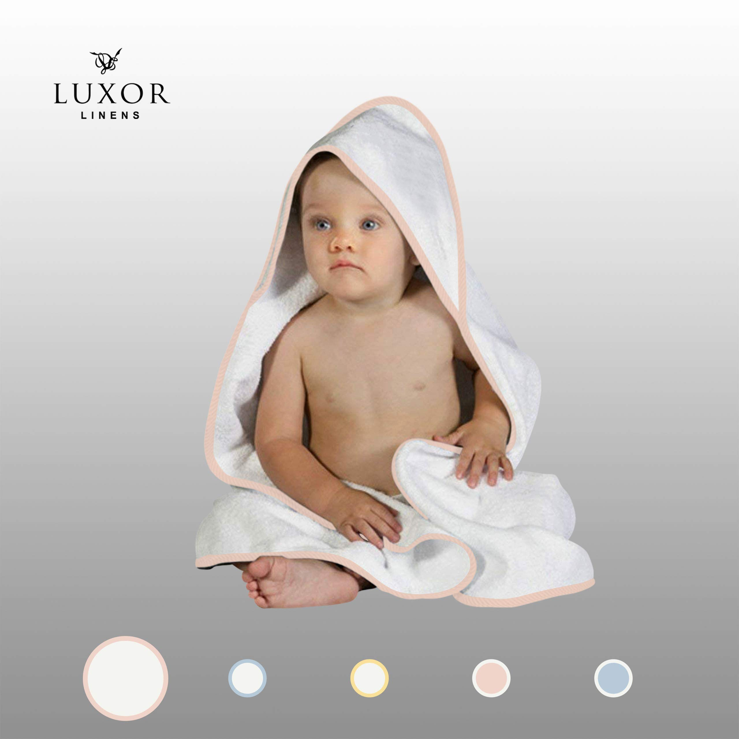 Luxor Linens 100% Super Absorbent Cotton Baby Hooded Terry Towel (White-Pink) Vienna Collection