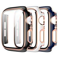 3 Pack Case for Apple Watch 40mm Series 6/5/4/SE Built-in Tempered Glass Screen Protector,JZK Ultra Thin HD Tempered Glass Full Coverage Hard Protective Cover for iWatch 40mm Accessories