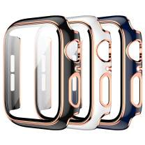 3 Pack Case for Apple Watch 44mm Series 6//5/4/SE Built-in Tempered Glass Screen Protector,JZK Ultra Thin HD Tempered Glass Full Coverage Hard Protective Cover for iWatch 44mm Accessories