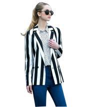 Moxeay Women's Halloween Beetlejuice Costume Black and White Striped Blazer Jacket