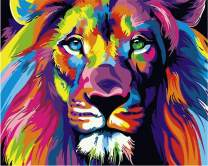 "iCoostor Paint by Numbers DIY Acrylic Painting Kit for Kids & Adults Beginner– 16"" x 20"" Colorful Lion Pattern"