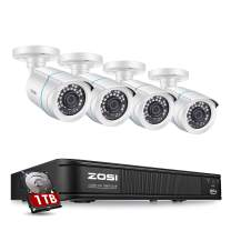 ZOSI H.265+ Home Security Camera System 1080p,CCTV DVR 8 Channel with Hard Drive 1TB and 4 x Surveillance Bullet Camera 1080p Outside,Remote Access and Motion Detection