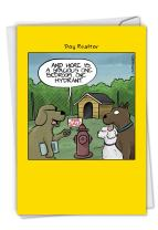 NobleWorks, One Hydrant - Funny New Home Congratulations Card - Funny Pet Dog Cartoon Note Card with Envelope C6377NHG