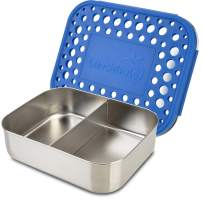 LunchBots Medium Duo Snack Container - Divided Stainless Steel Food Container - Two Sections for Half Sandwich and a Side - Eco-Friendly - Dishwasher Safe - Stainless Lid - Blue Dots