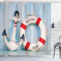 """Ambesonne Buoy Shower Curtain, Anchor Striped Life Buoy Siding Vertical on Shabby Boards Classic Style, Cloth Fabric Bathroom Decor Set with Hooks, 70"""" Long, Blue Navy"""