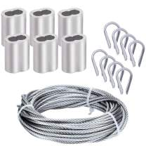 Cable Railing Kits,Haploon 1/8 inch Wire Cable Rope 304 Stainless Steel Marin Grade 33 Feet,50PCS Aluminum Crimp Sleeves and 12 Pcs Thimble for Decking,Railing,DIY Outdoor Shades, Picture Hanging