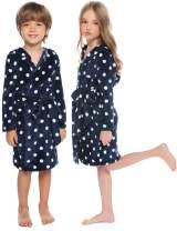 Sykooria Kids Robe Boys Girls Bathrobes Hooded Fleece Plush Soft Flannel Leopard Sleepwear