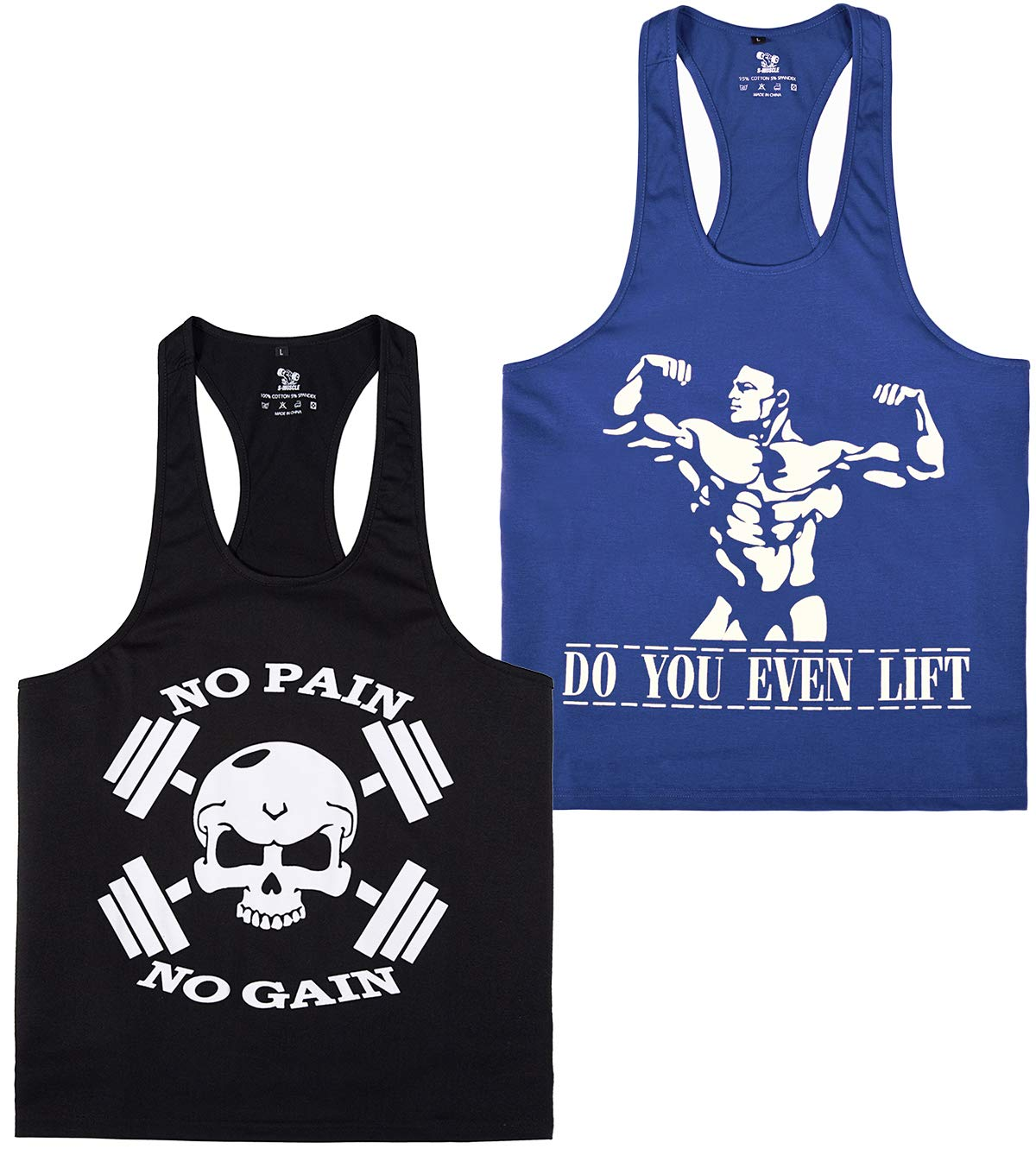 YSENTO Mens Stringer Tank Top Dri Fit Gym Workout Racerback Shirts