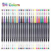 Dual Markers Brush Pen, 24 Coloring Pen Fine Point Coloring Marker for Hand Lettering Coloring Book Sketching Taking Writing Planning Art Project