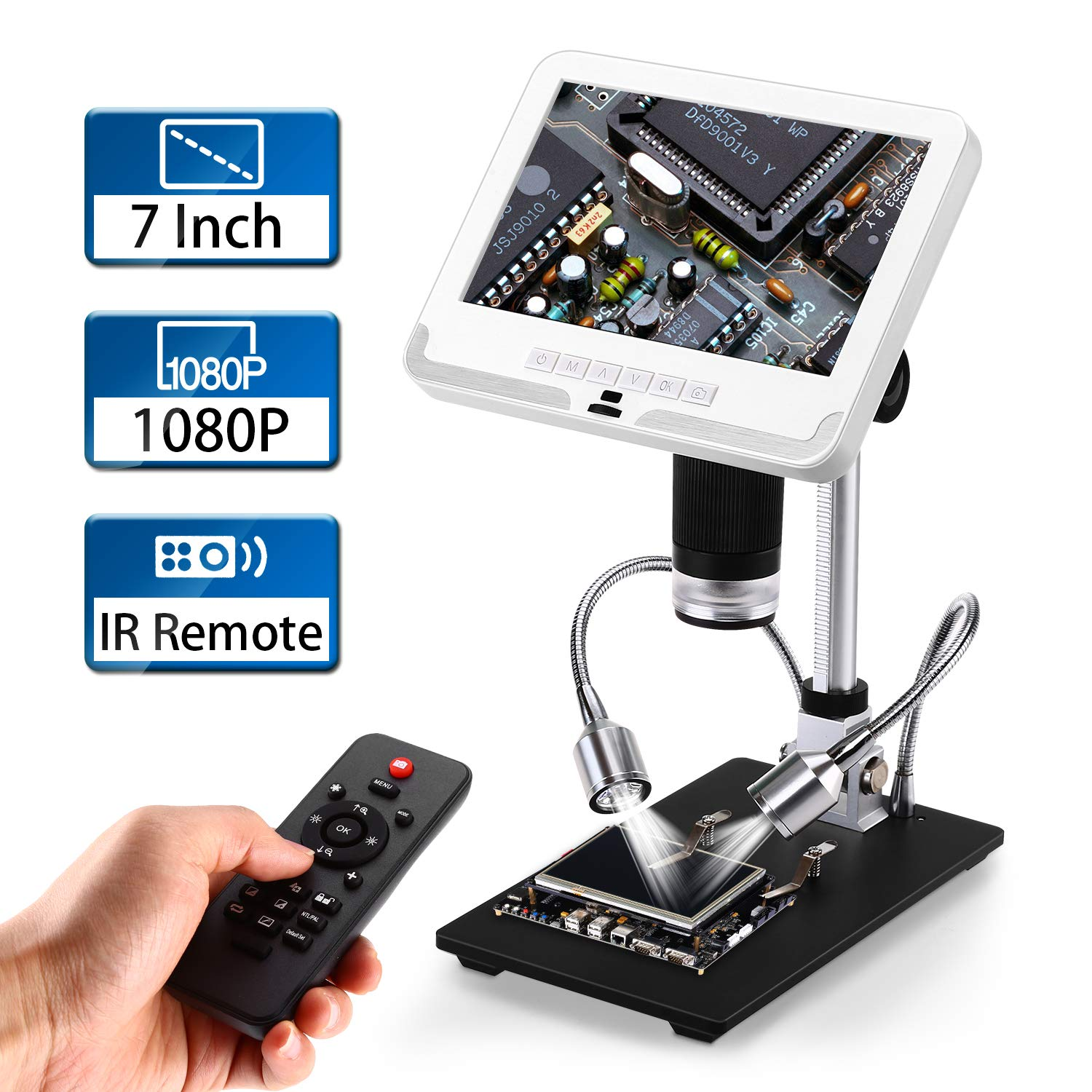 7 inch LCD Digital Microscope, Elikliv 1080P USB Microscope Camera Lens 2MP Video Recorder with Wireless IR Remote,UV Filter 200X Magnification,Adjustable Stand,8 LED Lights