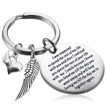 PLITI in Memory of Husband/Wife Gifts Sympathy Keychain with Angel Wing Keychain I was Supposed to Spend The Rest of My Life with You Memorial Gifts for Loss of Loved One